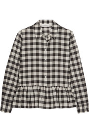The Great The Ruffle Oxford plaid cotton and linen-blend shirt