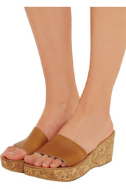 K Jacques St Tropez Kyrielle leather and cork wedge sandals