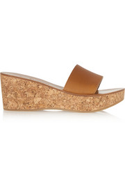 Kyrielle leather and cork wedge sandals