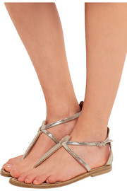 K Jacques St Tropez Buffon metallic suede sandals
