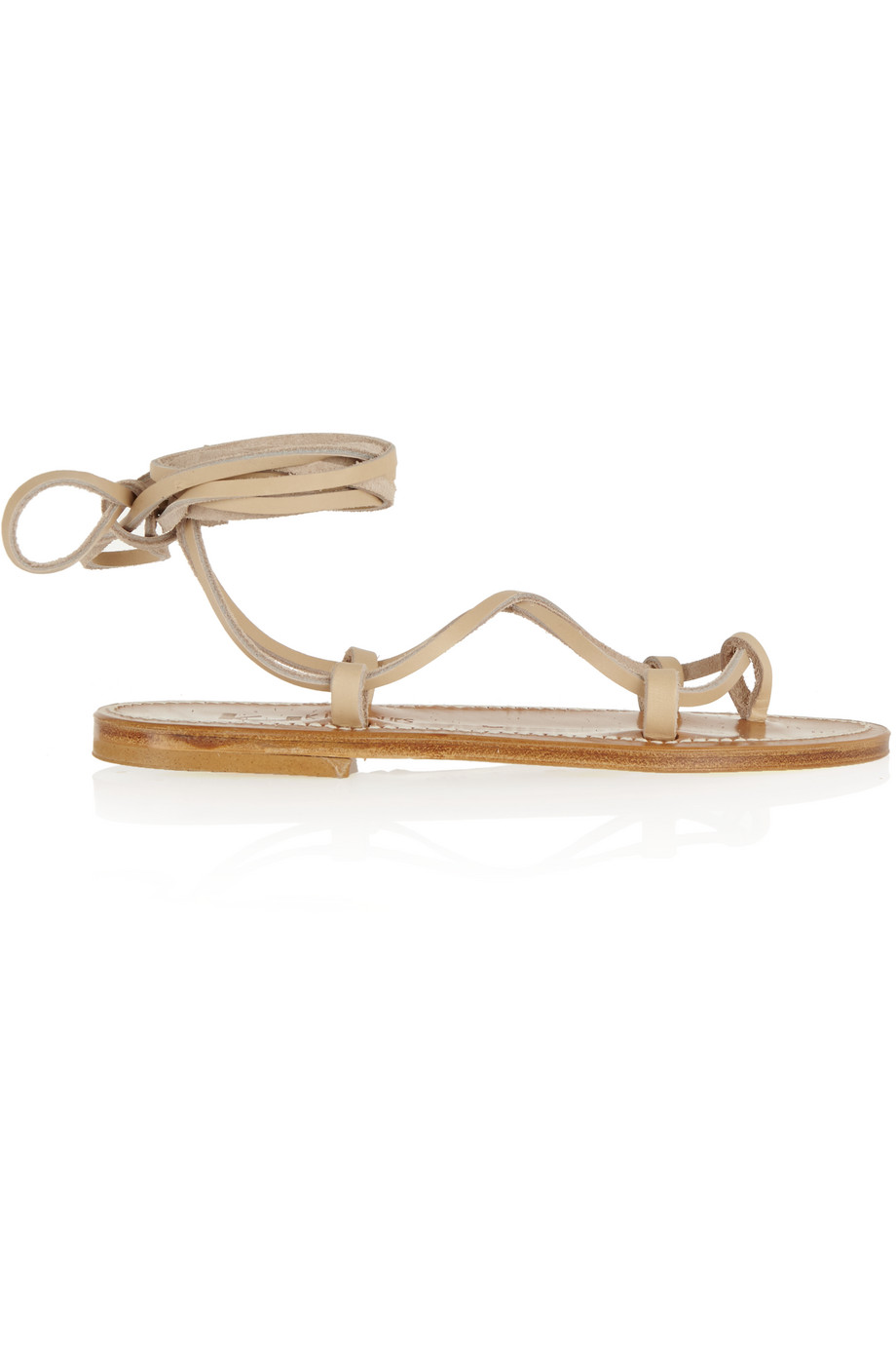 Bikini Leather Sandals, K Jacques St Tropez, Beige, Women's US Size: 5.5, Size: 36