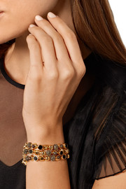 Collage gold-plated multi-stone bracelet