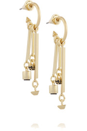 Charm Hoop gold-plated onyx earrings