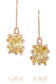 Estate rose gold-plated crystal earrings