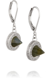 Silver-plated, labradorite and crystal earrings
