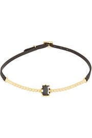 Eddie Borgo Dome Estate gold-plated, crystal and leather necklace