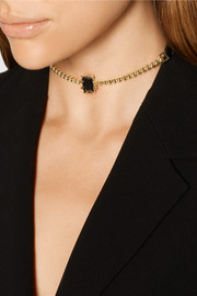 Dome Estate gold-plated, crystal and leather necklace