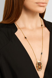 Collage gold-plated multi-stone necklace