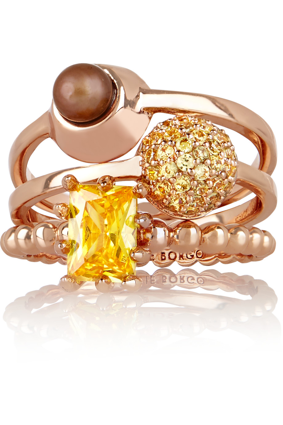 Eddie Borgo Collage Set of Three Rose Gold-Plated, Crystal and Pearl Rings, Women's