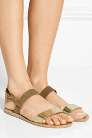 Ancient Greek Sandals Clio metallic leather and suede sandals