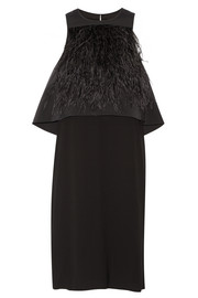 Tibi Feather-embellished layered stretch-faille and crepe dress