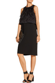 Feather-embellished layered stretch-faille and crepe dress