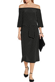 Off-the-shoulder polka-dot silk crepe de chine dress