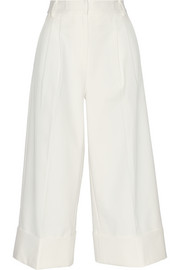 Cropped stretch cotton-blend twill wide-leg pants