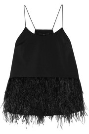 Feather-embellished stretch-faille camisole