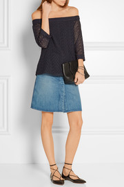 Tibi Off-the-shoulder broderie anglaise cotton top