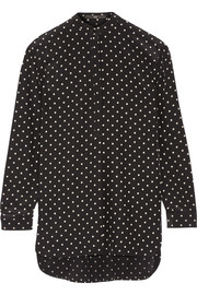 Polka-dot silk crepe de chine blouse