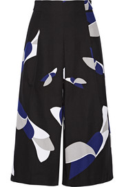 Printed cotton-crepe culottes