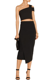 Tibi One-shoulder cropped crepe top