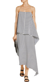 Identity Stripe asymmetric silk midi skirt