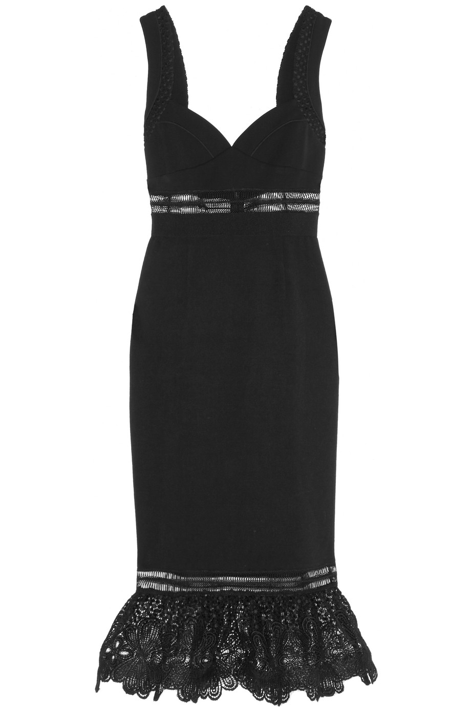 Self-Portrait Olivia Guipure Lace-Paneled Crepe Dress, Black, Women's, Size: 6