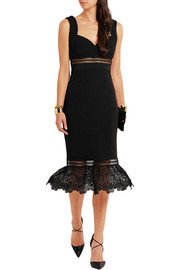 Olivia guipure lace-paneled crepe dress