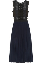 Guipure lace and pleated crepe dress