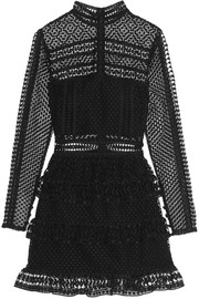 Self-Portrait Tiered guipure lace mini dress