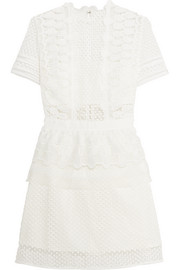 Guipure lace peplum mini dress