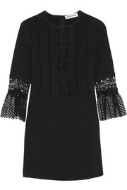 Guipure lace-paneled crepe mini dress