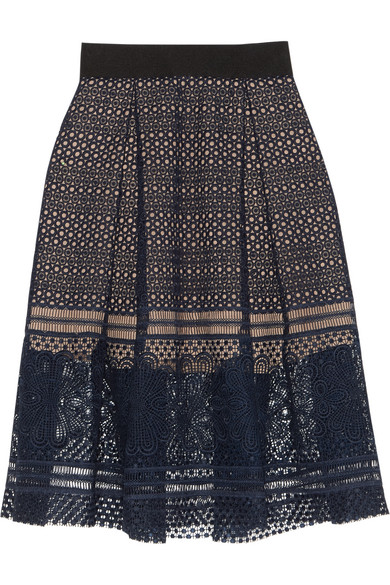 Self-Portrait - Sofia Pleated Guipure Lace Skirt - Navy