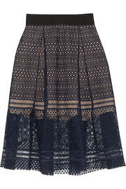 Sofia pleated guipure lace skirt