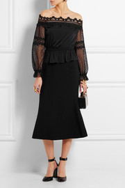 Self-Portrait Off-the-shoulder guipure lace and crepe de chine top