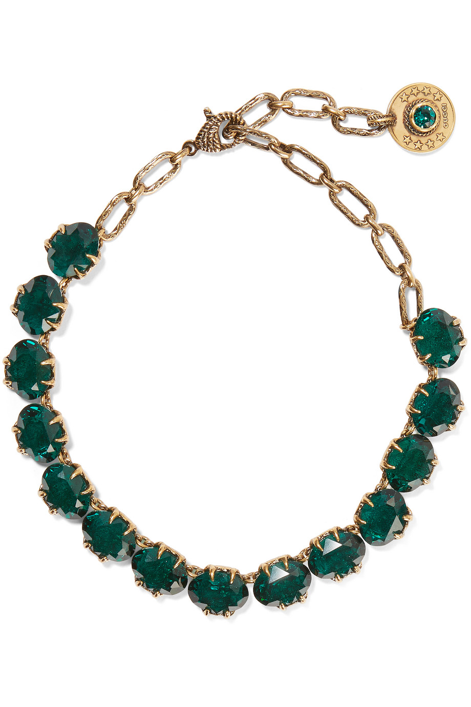 Gucci Burnished Gold-Tone Swarovski Crystal Necklace, Brass/Emerald, Women's