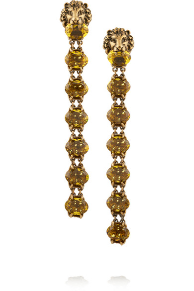 Gucci - Gold-tone Crystal Clip Earrings