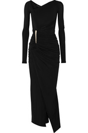 Donna Karan New York Asymmetric ruched stretch-jersey gown