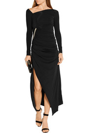 Asymmetric ruched stretch-jersey gown