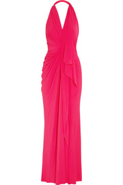 Halterneck stretch-jersey gown
