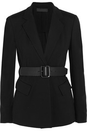 Essentials belted ponte-jersey blazer