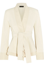 Belted stretch cotton-blend canvas jacket