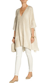 Silk and cashmere-blend chenille poncho