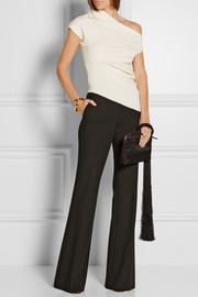 One-shoulder asymmetric stretch-crepe top