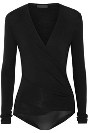 Wrap-effect stretch-jersey bodysuit