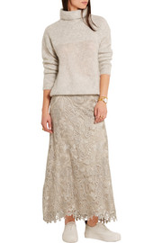 Stretch-jersey, macramé lace and tulle maxi skirt