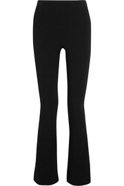 Stretch wool-blend crepe flared pants