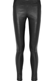 Leather-paneled stretch-jersey skinny pants