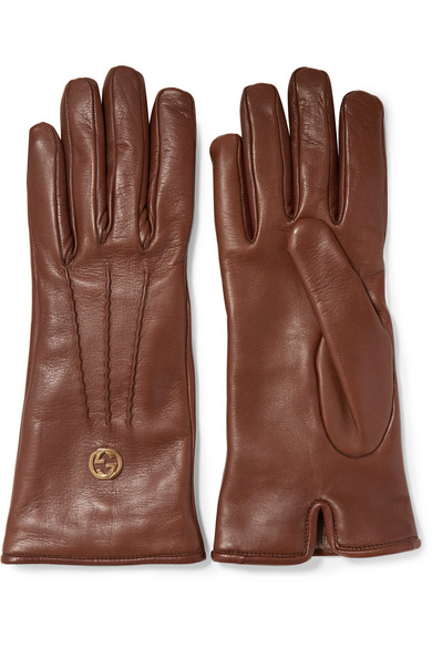 Gucci - Leather Gloves - Brown