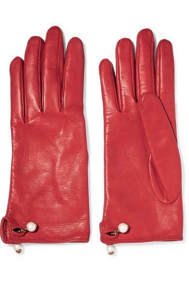 Gucci - Embellished Leather Gloves - Red
