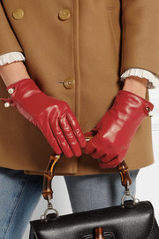 Gucci Embellished leather gloves