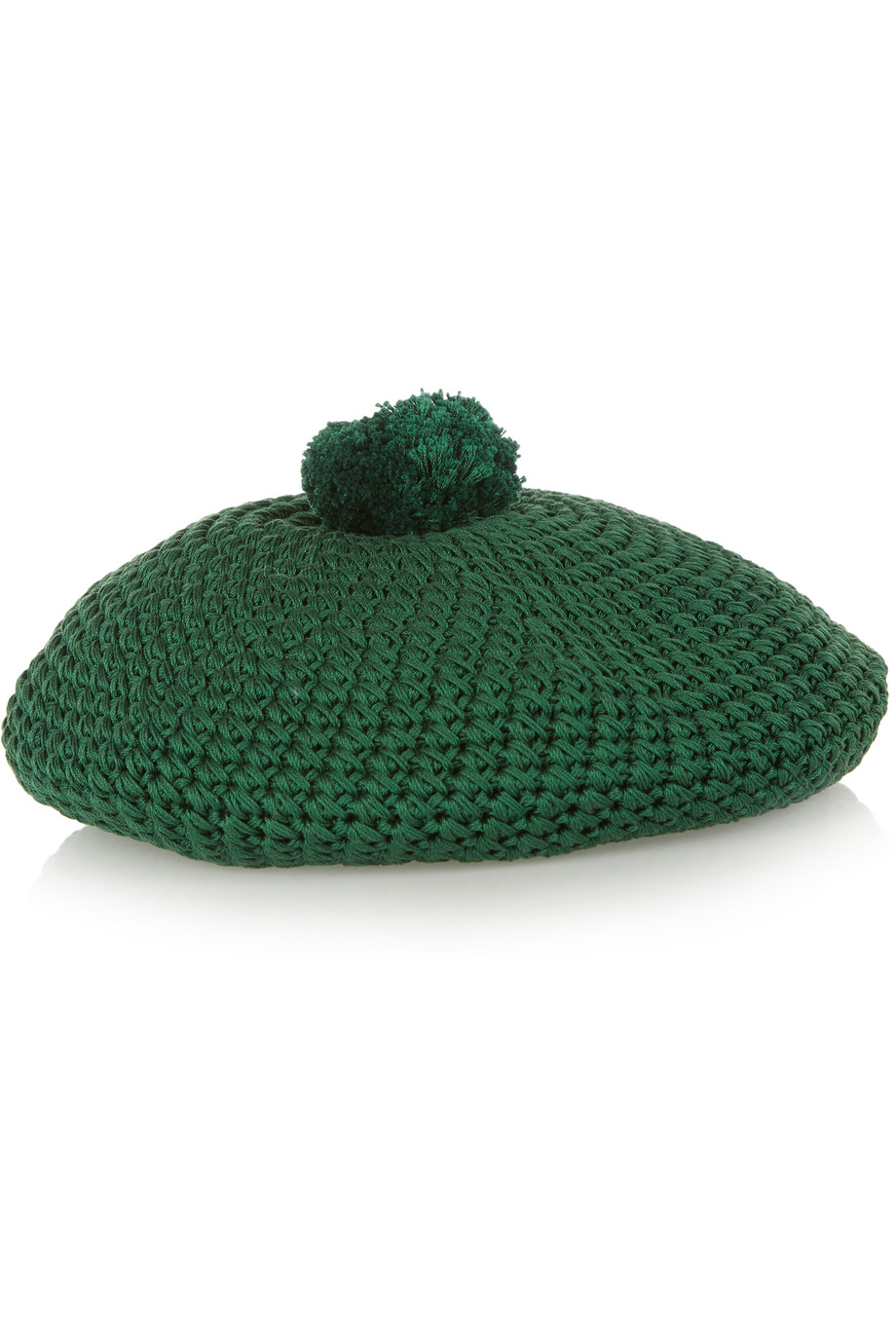 Gucci Crocheted Cotton Beret, Forest Green, Women's